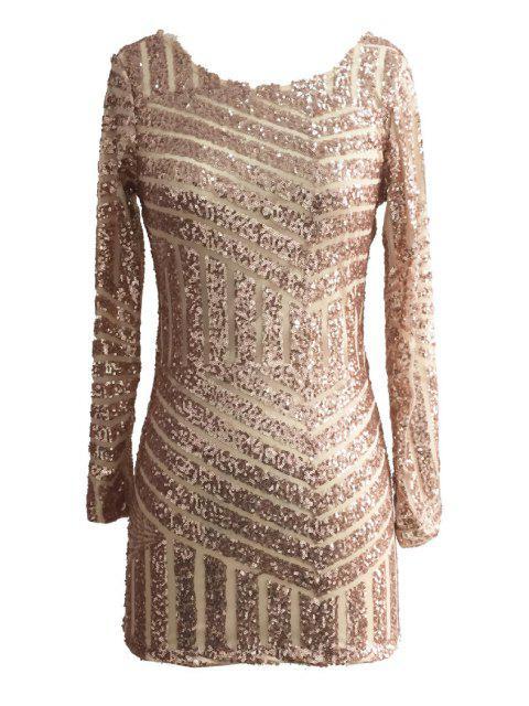sale Sequins Backless Long Sleeve Dress - GOLDEN S Mobile