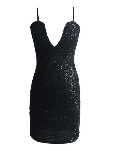 unique Spaghetti Strap Sequin Sleeveless Dress - BLACK L Mobile