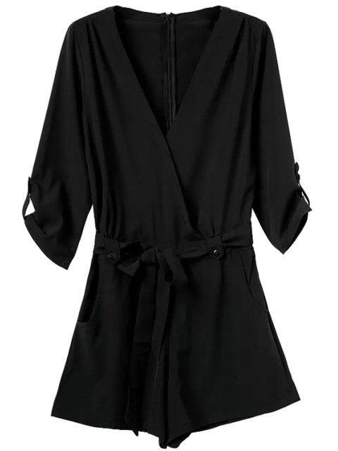 lady V-Neck Solid Color Tie-Up Romper - BLACK S Mobile