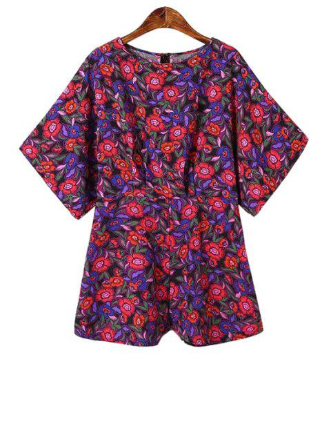 outfit Jewel Neck Floral Print Romper - RED S Mobile