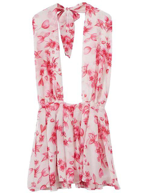 ladies Floral Halter Backless Dress - PINK XL Mobile