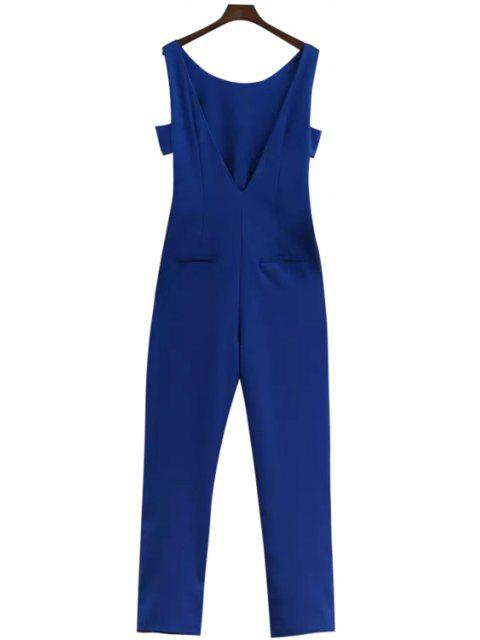 unique Blue Off-The-Shoulder Jumpsuits - BLUE S Mobile