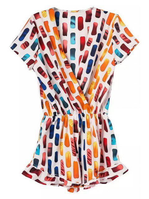fashion V-Neck Colorful Print Romper - COLORMIX XL Mobile