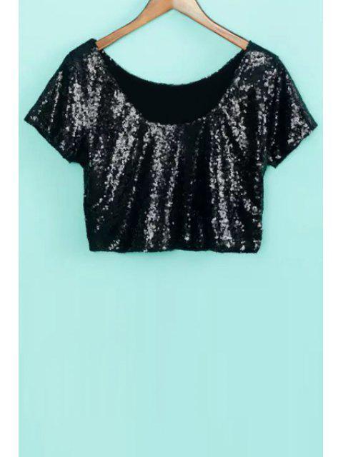 affordable Sequins Short Sleeve Crop Top - BLACK S Mobile