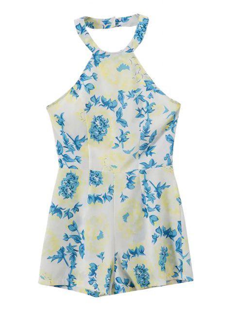 women's Floral Print Halter Romper - GREEN XL Mobile