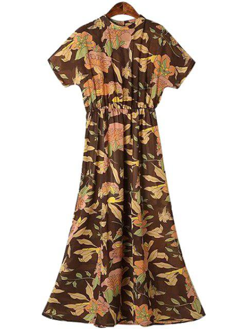 online Round Neck Floral Print Ruffle Dress - COLORMIX S Mobile