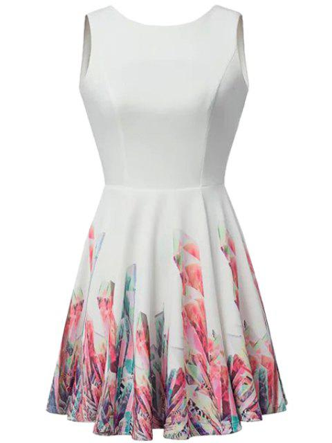 sale Backless Print Sleeveless Dress - WHITE L Mobile
