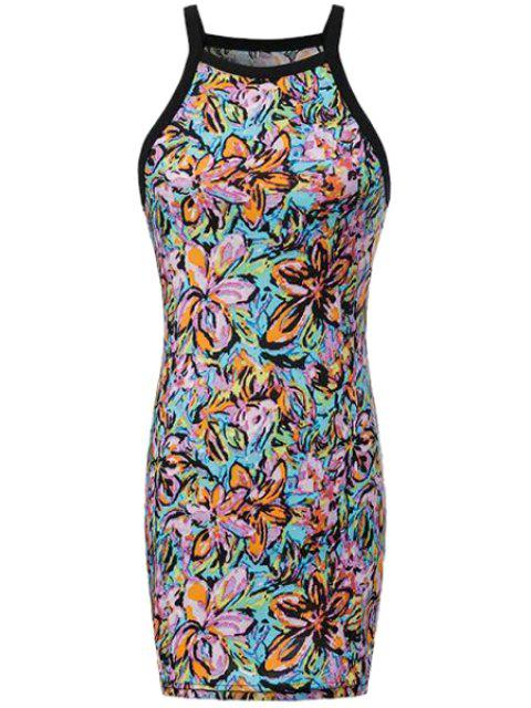 womens Floral Print Spaghetti Strap Dress - COLORMIX L Mobile