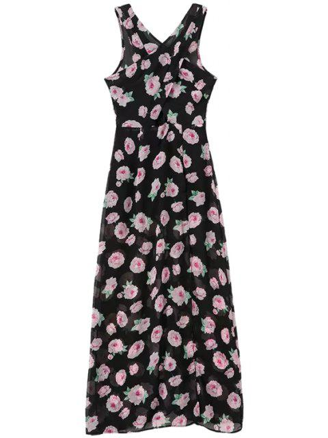 fashion Slit Floral Print Sleeveless Dress - BLACK XL Mobile