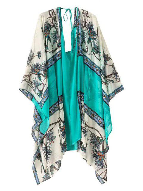 shop Print Color Block Loose-Fitting Dress - TURQUOISE ONE SIZE(FIT SIZE XS TO M) Mobile