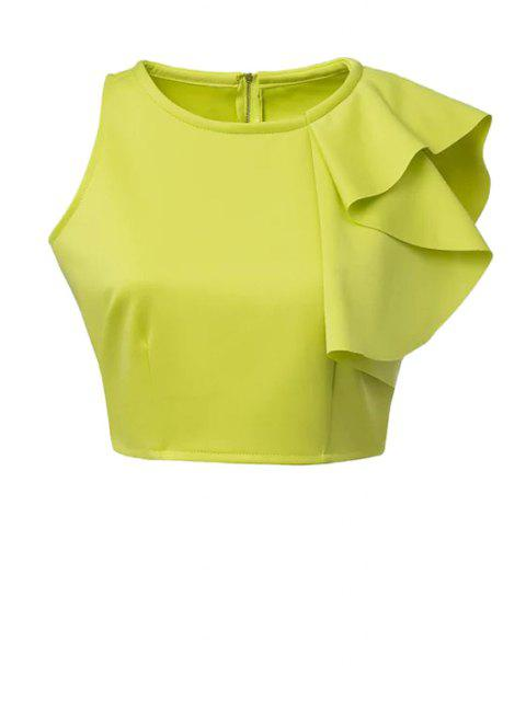 latest Solid Color Ruffles Crop Top - GREEN L Mobile