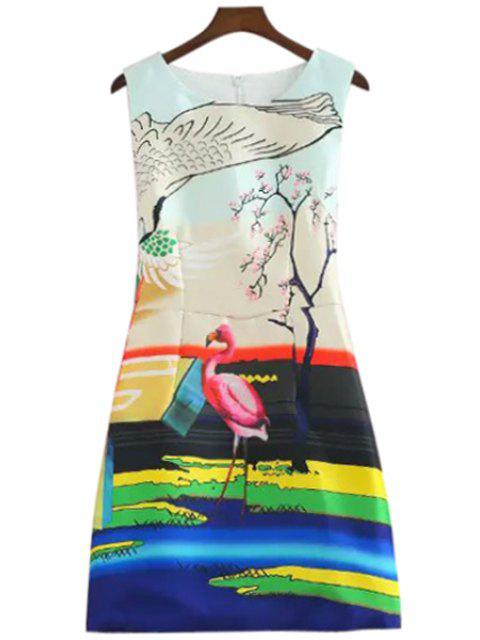 chic Flamingo Print A-Line Sundress - COLORFUL M Mobile