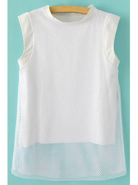 latest Mesh Splicing Sleeveless T-Shirt - WHITE S Mobile