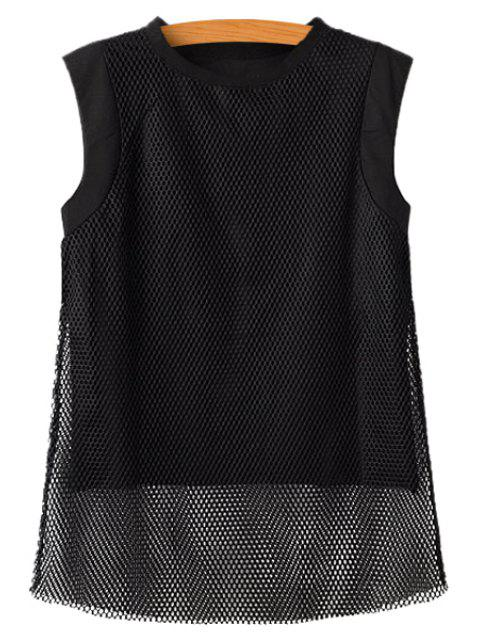 shops Mesh Splicing Sleeveless T-Shirt - BLACK M Mobile