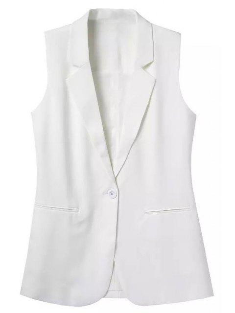 shop Lapel Solid Color Sleeveless Waistcoat - WHITE M Mobile
