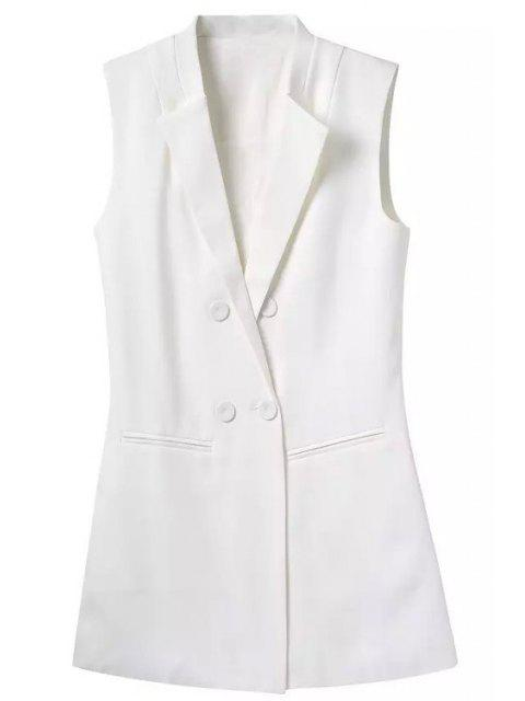 fancy Lapel Buttons Solid Color Waistcoat - WHITE M Mobile
