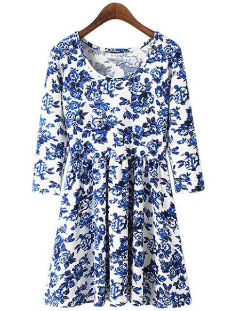sale Blue Floral Print 3/4 Sleeve Dress - LIGHT BLUE S Mobile