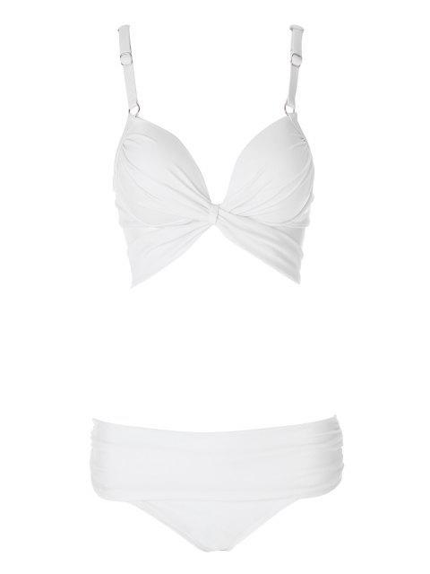 sale Solid Color Spaghetti Straps Bikini Set - WHITE M Mobile