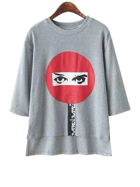unique Eye Print Half Sleeve T-Shirt - GRAY ONE SIZE(FIT SIZE XS TO M) Mobile