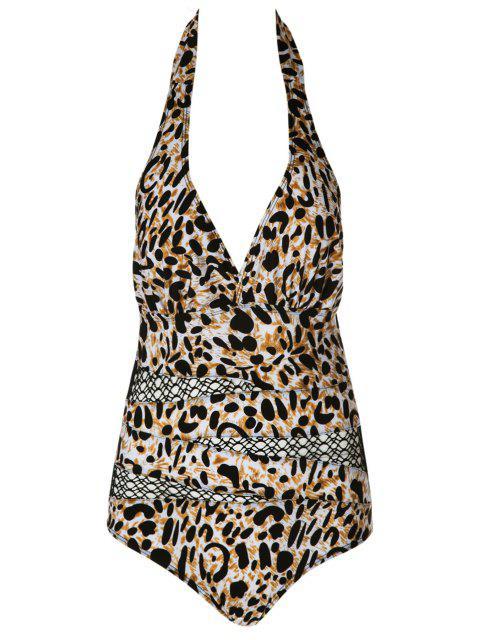 fancy Halter Leopard Pattern Mesh Swimwear - LEOPARD M Mobile