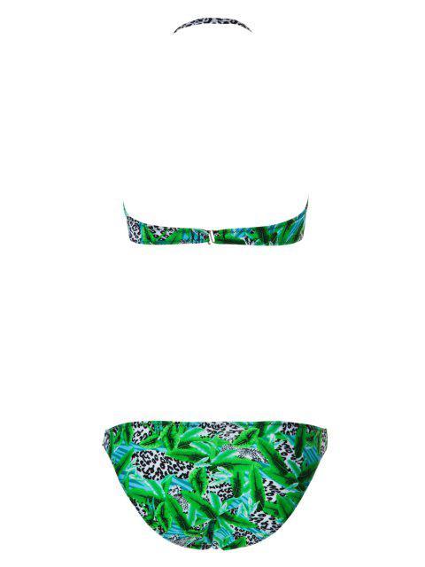 online Leopard Pattern Floral Print Bikini Set - BLUE M Mobile