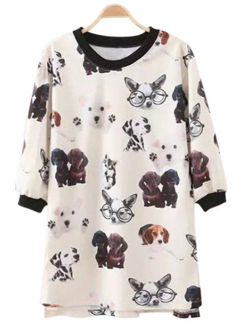 women's Puppy Print Half Sleeve T-Shirt - WHITE M Mobile