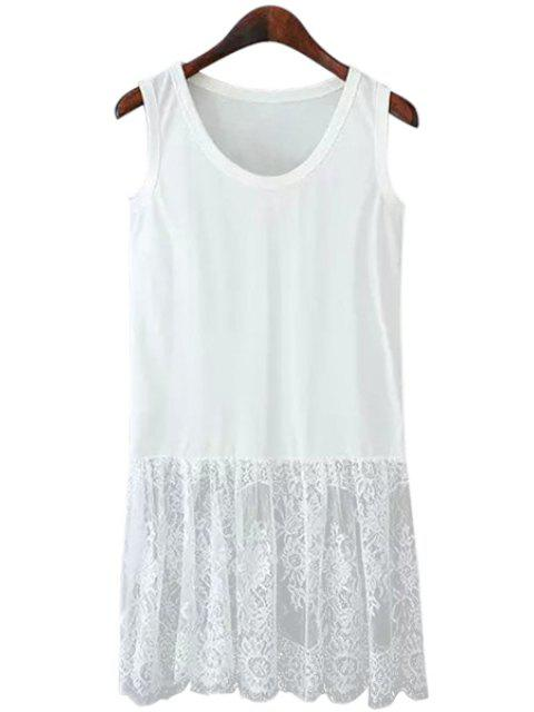 fashion Lace Spliced Scoop Neck Sundress - WHITE M Mobile