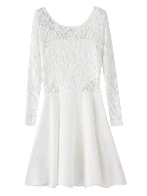 shops Lace Spliced Long Sleeve Dress - WHITE XL Mobile