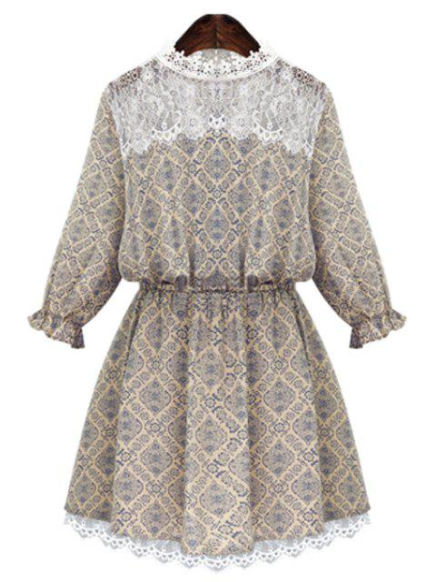 lady Round Neck Print Lace Splicing Dress - BEIGE L Mobile