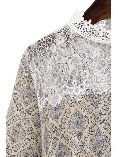 Cuello redondo de impresión de encaje Empalme vestido - Beige L Mobile