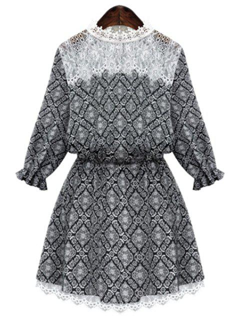 latest Round Neck Print Lace Splicing Dress - BLACK XL Mobile