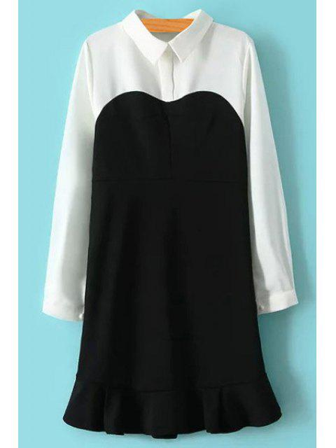 trendy Color Block Turn-Down Collar Dress - WHITE AND BLACK L Mobile
