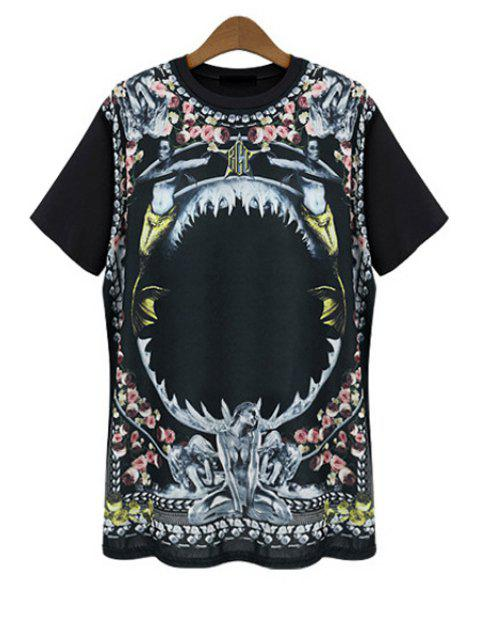 women Figure Floral Print Short Sleeve T-Shirt - BLACK L Mobile