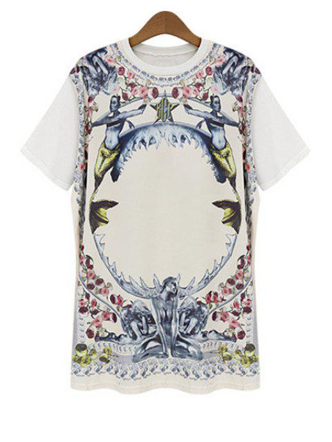 online Figure Floral Print Short Sleeve T-Shirt - WHITE L Mobile