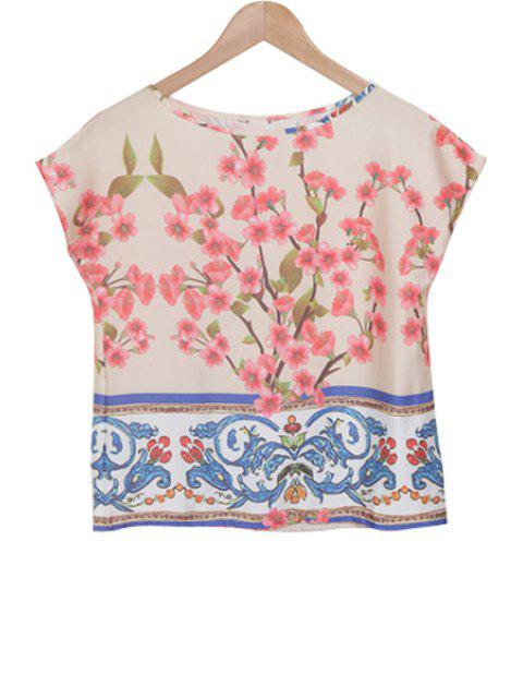 outfit Peach Blossom Print Short Sleeve T-Shirt - BLUE AND PINK S Mobile