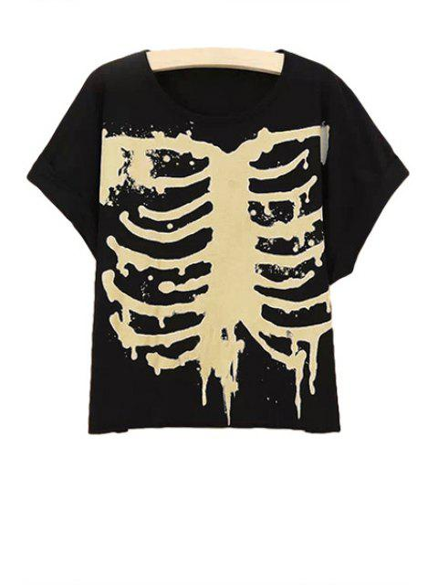hot Short Sleeve Skeleton Print T-Shirt - BLACK M Mobile