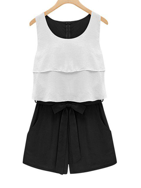 best Double Layered Tie-Up Sleeveless Romper - WHITE XL Mobile