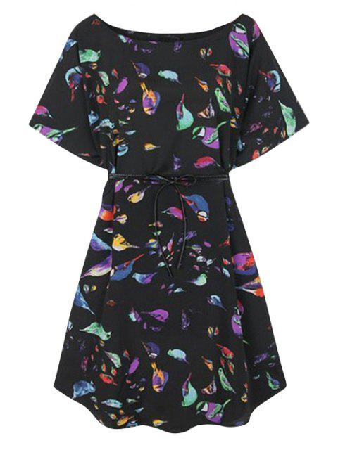 shops Colorful Birds Print Short Sleeve Dress - BLACK S Mobile