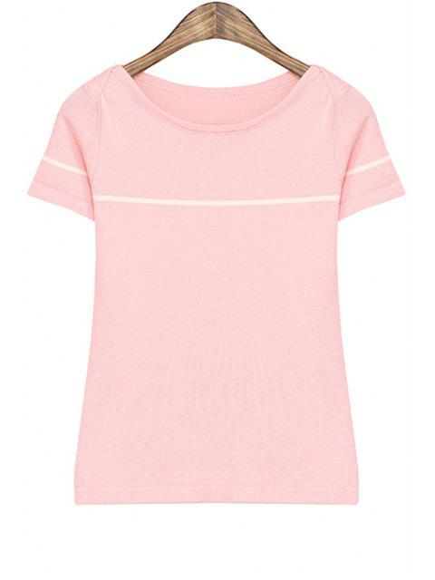 fashion Striped Short Sleeves T-Shirt - PINK ONE SIZE(FIT SIZE XS TO M) Mobile