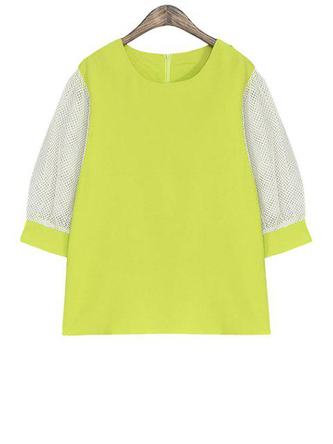 ladies Color Block Half Sleeve Blouse - NEON GREEN ONE SIZE(FIT SIZE XS TO M) Mobile