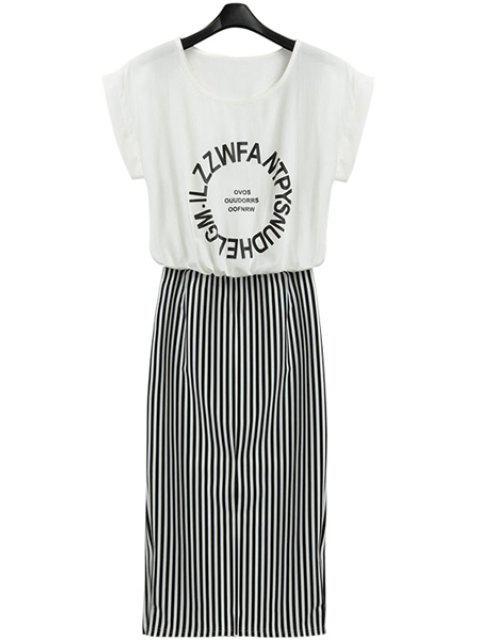 fancy Letter Print Stripe Short Sleeve Dress - WHITE AND BLACK S Mobile