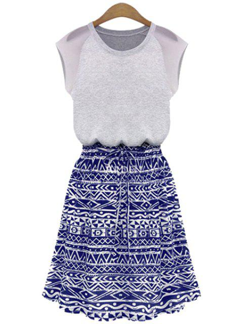 best Blue Geometric Print Short Sleeve Dress - PURPLISH BLUE XL Mobile