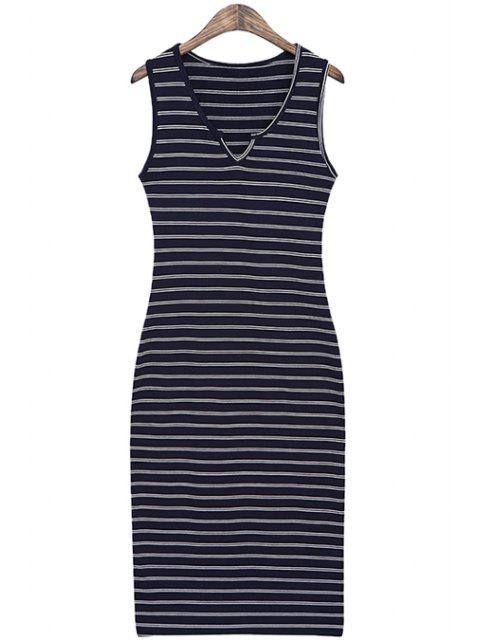 online Striped Slimming Sundress - DEEP BLUE ONE SIZE(FIT SIZE XS TO M) Mobile