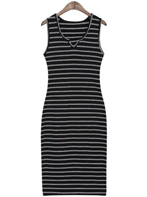 new Striped Slimming Sundress - BLACK ONE SIZE(FIT SIZE XS TO M) Mobile