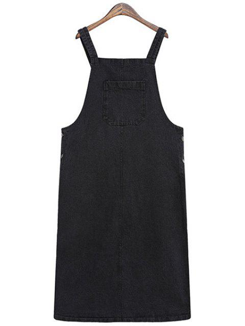 outfit Solid Color Straps Denim Dress - BLACK ONE SIZE(FIT SIZE XS TO M) Mobile