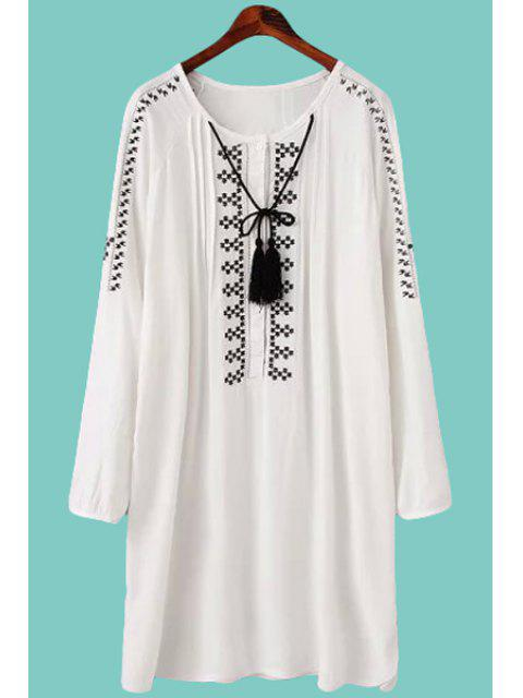 latest Embroidery Long Sleeve Dress - WHITE L Mobile