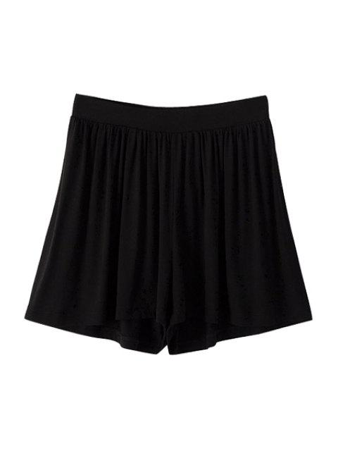 latest Solid Color Elastic Waisted Pantskirt - BLACK L Mobile