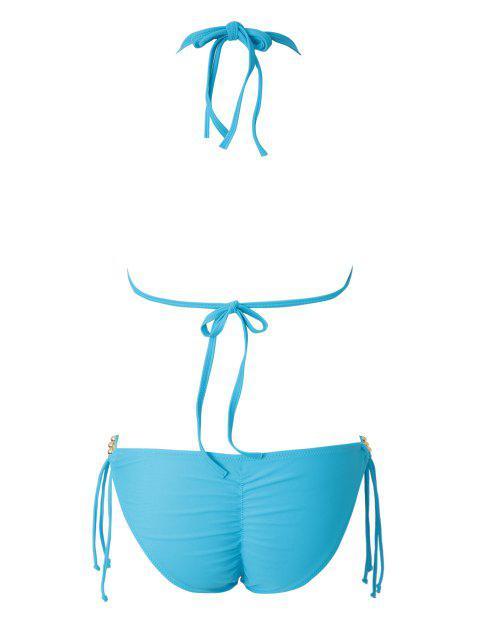 shop Blue Halter Lace-Up Bikini Set - LAKE BLUE M Mobile