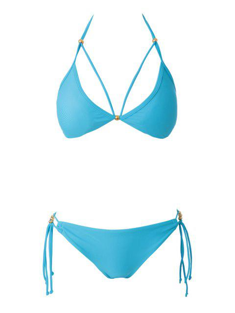 latest Blue Halter Lace-Up Bikini Set - LAKE BLUE L Mobile