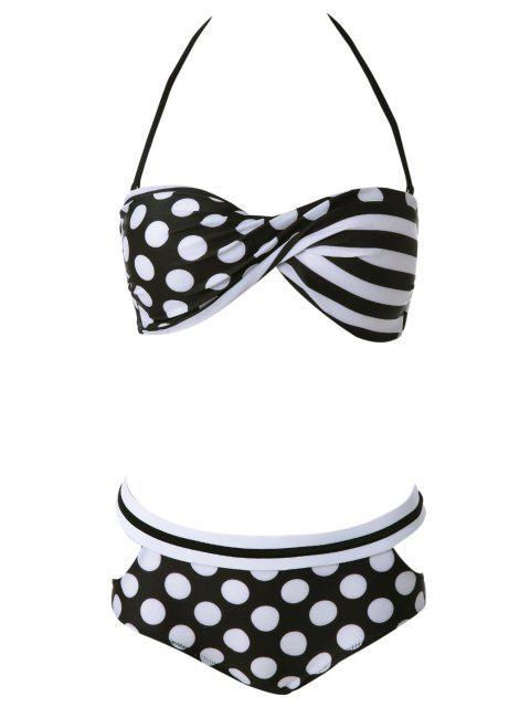 online Halter Polka Dot Bikini Set - WHITE M Mobile